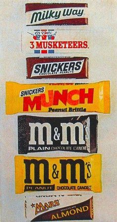 1970s candy bar wrappers