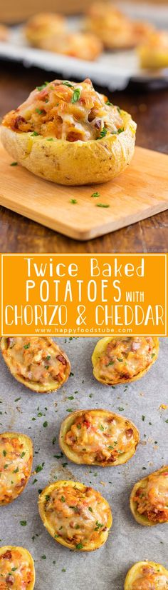 Twice Baked Potatoes with Chorizo and Cheddar can be enjoyed as an appetizer, side dish or a main. Super easy home cooking recipe via @happyfoodstube
