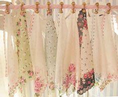 idea for shabby chic curtain topper using hankerchiefs