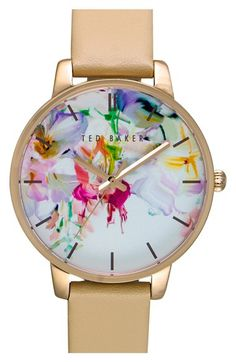 Ted Baker London Ted Baker London Leather Strap Watch, 40mm available at #Nordstrom