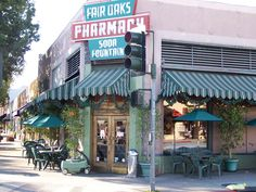 Fair Oak Pharmacy and Soda Fountain!! on Mission Street in South Pasadena where I was born. It was a working pharmacy with an integrated soda shop and the most unique and lovely gifts....30's and 40's music, chocolate malts, and big red barstools. :)