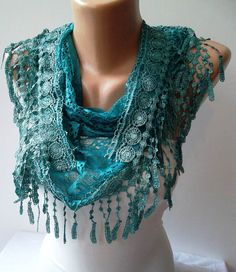 Turqouise Lace and Elegance Shawl / Scarf  with by SwedishShop, $17.90