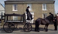 Ready for the Procession. Funeral Carriages (Horse Drawn Hearses). Notice the plumes on the horses. During the Victorian era, the more plumes the horses had, usually meant the wealth of the person who died.