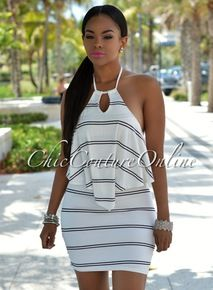 Kimbella Ivory Black Stripes Halter Dress