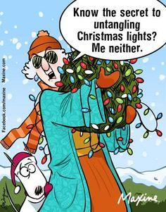 the secret to untangling Christmas lights | Maxine (2015-12-01) via FB