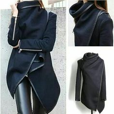 Wool coat by Sammy Dress Stylish Jackets, Cute Jackets, Black Jackets, Stylish Coat, Asymmetrical Coat, Cool Coats, Wrap Coat, Love Clothing, Sammy Dress