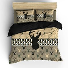 Custom Personalized Camo Colors Deer Head & Antler Bedding Set... ($139) ❤ liked on Polyvore featuring home, bed & bath, bedding, black, home & living, extra long twin bed set, king size bedding sets, twin bed sets, queen bed sets and king size bedding ensembles