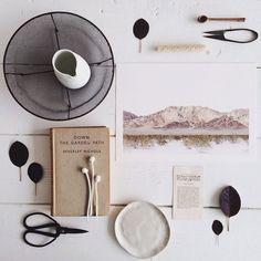 Porcelain mushrooms by @Beth J J J J J Richards and ceramics by @bridgetbodenham - by instagrammer @stephanie_somebody #vignette