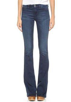 Blue Plain Zipper Mid-rise Casual Denim Long Jean