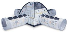 """Pacific Play Tents Kids Space Station Dome Tent with 4 Crawl Tunnels for Indoor / Outdoor Fun. Tent size: 48"""" X 48"""" X 42"""" high, Tunnel size: 4' X 19"""" diameter, Exciting graphics and glow-in-the-dark stars make this a real-life play experience. Encourages physical play and stimulates the imagination at any time of the day. Large enough to accommodate three or more friends, toys and kid-sized furniture. Mesh panels for ventilation and allows for easy viewing, Two color-coded, G-3 Super…"""
