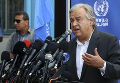 U.N. Secretary-General Antonio Guterres holds a press conference at the U.N. Aleppo Elementary school in Beit Lahiya, Gaza Strip, Wednesday, Aug. 30, 2017. Gaza's Islamic Hamas rulers welcomed U.N. Secretary-General Antonio Guterres to the isolated territory Wednesday by demanding he work to lift the Israeli-Egyptian blockade of the strip and save it from a humanitarian crisis. (AP Photo/Adel Hana)