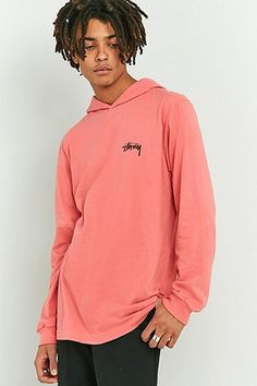 Stussy Original Stock Pink Hooded Long-Sleeve T-shirt