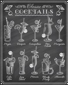 Cocktails blackboard menu hand drawn vector