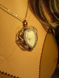 Pretty White Cameo With diamonds and Seed Pearls