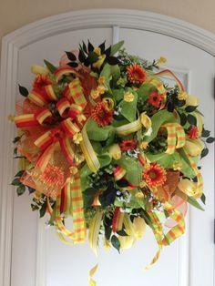 Spring Deco Mesh Door Wreath by WredWrockWreaths on Etsy, $160.00