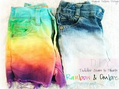 DIY: Toddler Jeans to Shorts - Ombre and Rainbow. How cute are these rainbow and ombré shorts?! Learn how to do this do it yourself project with old jeans and turned them into new amazing shorts for your growing toddler.