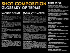 Shot Composition Glossary of Terms ©Anna Hawes Shot Komposition Glossar der Begriffe © Anna Hawes Photography And Videography, Film Photography, Kino Party, Film Class, Film Tips, Film Theory, Films Cinema, Digital Film, Film Studies