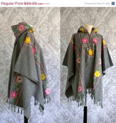 Fabulous 1970s Embroidered Mexican Poncho $68.00