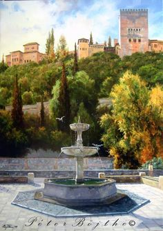 PINTURA PÉTER BOJTHE: Vista otoñal de la Alhambra Great Paintings, Scenery Paintings, Watercolor Paintings, Alhambra Spain, Granada Spain, Wall Painting Decor, Islamic Posters, Watercolor Architecture, Spanish Art