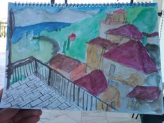 1st water color from the balcony in Greece