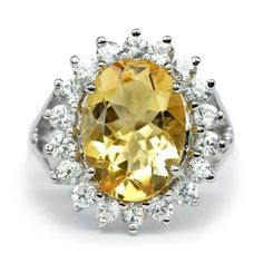 4.69 Carat Natural Medium Yellow Citrine Ring With Zircon in 925 Sterling Silver #MultaJewelry #SolitairewithAccents