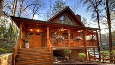 Breath-taking views of Cherry Lake await you at this spectacular water front Georgia cabin rental