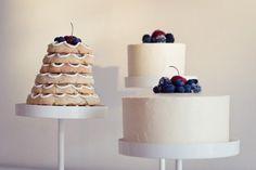 fruit topped Norwegian wedding cake with simple layer cakes @myweddingdotcom