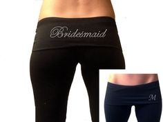 Custom Bridesmaids Black Fold Over Yoga Pants by TheComfortBride, $23.99