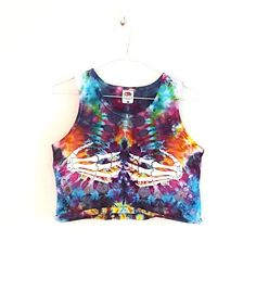 Awesome dyed skull middle finger crop top