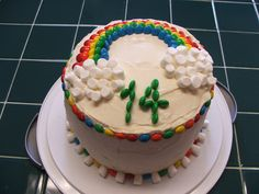I wish I had a photo of the inside of this one. The cake layers formed a rainbow. It was a neat surprise for the kids.