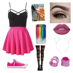 Untitled #35 by atomicriley on Polyvore featuring polyvore, Charlotte Russe, Converse, Cara, Lime Crime, fashion, style and clothing