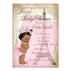 Ethnic Vintage Paris Baby Shower Invitation - Beautiful pink and gold and Eiffel Tower Paris baby shower invitation with adorable African America - Baby Shower Cards, Baby Shower Invites For Girl, Girl Shower, Baby Shower Themes, Baby Shower Decorations, Baby Shower Invitations, Shower Ideas, Paris Theme Baby Shower, Diy Invitations