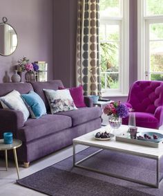 Purple living room decor purple living room ideas ideal home. Small Living Room Decor, Curtains Living Room, Living Room Paint, Purple Living Room, Living Room Decor Purple, Grey Paint Living Room, Living Room Grey, Purple Living Room Furniture, Rugs In Living Room