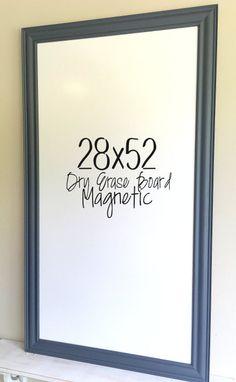 WALL ORGANIZER Dry Erase Board Pewter Grey Framed by ShugabeeLane