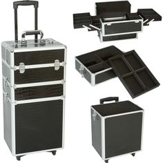 @Overstock.com - This Seya three-tier rolling makeup case has a black gator finish and silvertone trim. The top section includes four extendable trays with adjustable/removable dividers, the middle section has a removable tray, and the bottom holds larger items.http://www.overstock.com/Health-Beauty/Seya-3-in-1-Black-Gator-Rolling-Makeup-Case/7481976/product.html?CID=214117 $139.99