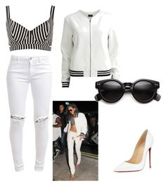 """""""Rihanna Inspired Outfit 2"""" by maggmcintyre on Polyvore featuring Rihanna For River Island, VILA, FiveUnits and Christian Louboutin"""