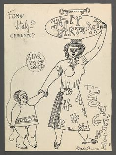 Birthday drawing for Eugénie Prendergast created by Robert Brady 1952 at Williams College Museum of Art.