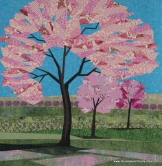 Art Quilt  Spring Blossoms  Cherry Blossom by TerryAskeArtQuilts, $1400.00