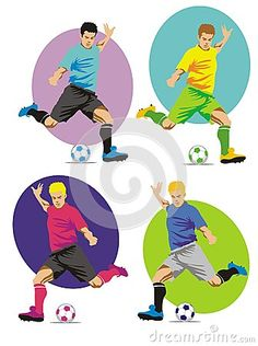 Soccer player in action.  Soccer players running with the ball, ready to shoot at the goal.