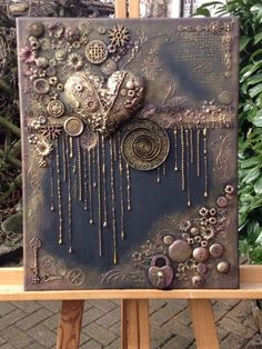 Mixed Media Painting, Mixed Media Canvas, Mixed Media Art, Mix Media, Altered Canvas, Altered Art, Mixed Media Boxes, Steampunk Crafts, Multimedia Arts