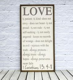 Love is Patient Love is Kind Framed Sign 1 Corinthians 13 #mkd #yourstory #1corinithians13 #loveis