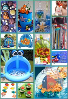 Finding Nemo Party Board. I love the Squirt cupcakes. I might have to make these for the Finding Nemo party I'm planning.