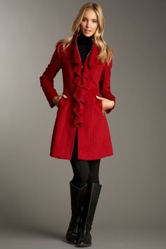 red ruffle coat