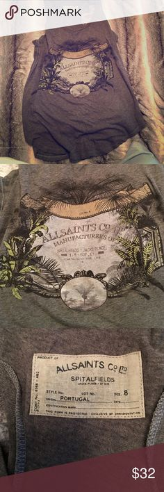 "All Saints logo tank Really cool all Saints ""palms branded vest"". 100% cotton, smoke, pet and fragrance free home. I think I may have only worn this twice. 🙂 All Saints Tops"