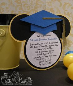 mickey mouse inspired graduation invitations - royal blue and gold, Birthday invitations