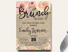 Spring Bridal Shower Invitation Brunch Champagne by DesignOnPaper