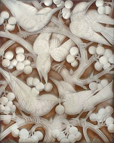 inland-delta: René Lalique, Blackbirds and grapes, glass panel,1928
