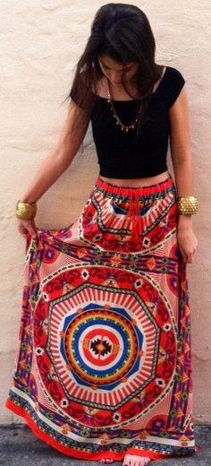Boca Leche The Pagoda Color Spill Maxi Skirt. I like this idea.