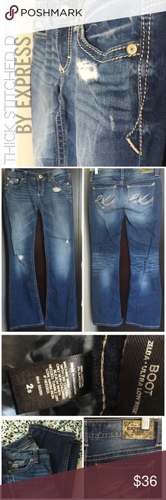 Express Thick Stitched Denim Boot Cut These are in excellent condition! Size 2s (28 1/2 inch) thick stitched Zelda boot cut jeans, in med destructive wash- these are purposely destructive jeans (rips, holes, wear, etc.) Express Jeans Boot Cut