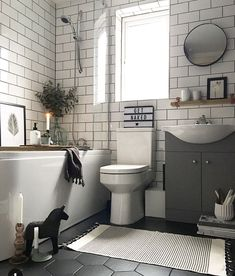 55 Subway Tile Bathroom Ideas That Will Inspire You Subway Tile Ba. - 55 Subway Tile Bathroom Ideas That Will Inspire You Subway Tile Bathroom Ideas That W - Upstairs Bathrooms, Rustic Bathrooms, Modern Bathroom, Tiled Bathrooms, Master Bathrooms, Dark Floor Bathroom, Small Bathroom With Tub, White Subway Tile Bathroom, White Tiles